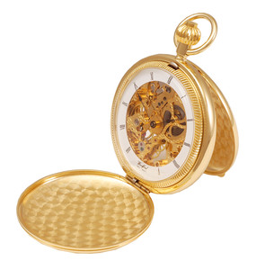 Woodford Skeleton Pocket Watch For Men gold Plated With Chain 1022
