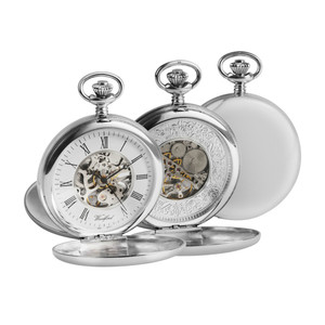 Woodford Sterling Silver Twin Lid Hunter Pocket Watch With Free Sterling Silver Chain 1097