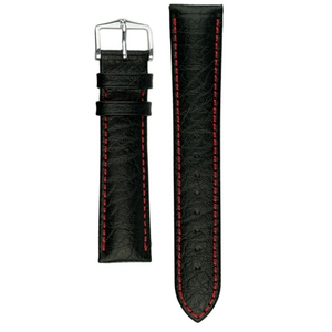 Hirsch Jumper Replacement Watch Strap Black Genuine Textured Leather 18mm With Free Connecting Pins