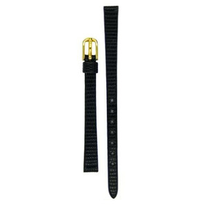 Hirsch Lizard Replacement Watch Strap Black Lizard Skin Embossed Leather 8mm With Free Connecting Pins