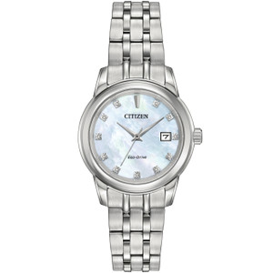 Citizen Ladies Mother Of Pearl Eco Drive Diamond Watch EW2390-50D