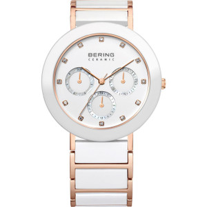 Bering Ladies White Ceramic Watch with Rose Gold Plated Links 11438-766