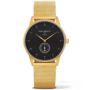 Paul Hewitt Signature Line Unisex Black Dial And Gold Bracelet Watch PH-M1-G-B-4M