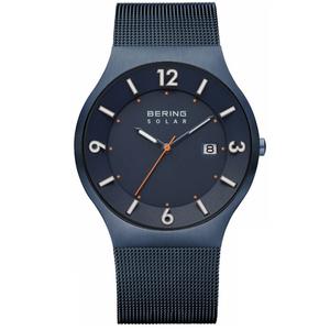Bering Men's Solar Blue Stainless Steel Mesh Watch 14440-393