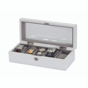 Mele And Co Lockable White and Grey Watch Box For 5 Watches 448