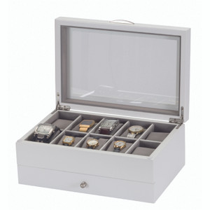 Mele And Co Watch Box For 10 Watches White Finish Grey Interior 449