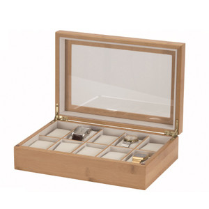 Mele And Co Watch Box For 10 Watches Bamboo Finish White Interior 450