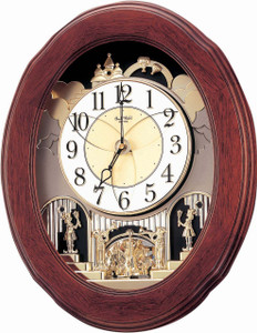 Rhythm Large Wooden Opening Face Musical Wall Clock 4MH780WD06