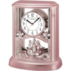 Rhythm Mantel Rose Gold Clock With Hourly Melody And Rotating Pendulum 4RH741WS13