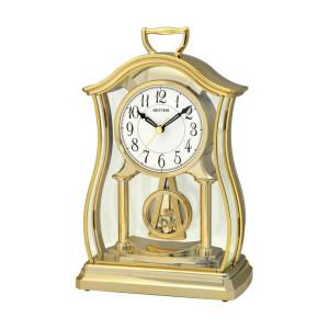 Rhythm Mantel Clock with Glass Inset Pendulum Gold Finish CRP611WR18