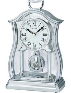 Rhythm Mantel Clock with Glass Inset Pendulum Silver Finish CRP611WR19