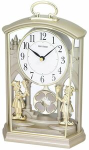Rhythm Ornate People Two Tone Mantel Clock With Ultra Slow Pendulum 4RP796WR18