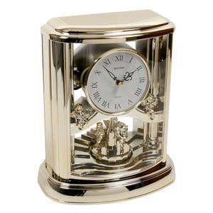 Rhythm Mantel Clock In Gilt With Rotating Pendulum And Melody 4RH741WD18