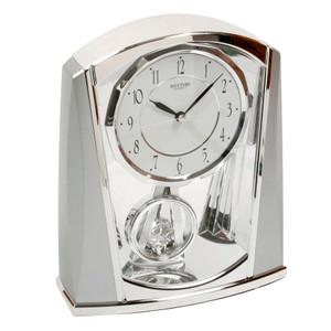Rhythm Mantel Clock Chrome With Pendulum