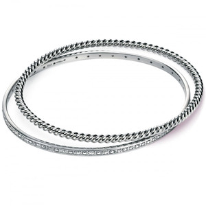Fiorelli Ladies Cubic Zirconia and Rope 2 Bangles in Sterling Silver