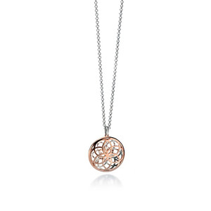 Fiorelli Ladies Silver Rose Gold Plated Revesible Pendant & Chain