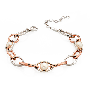 Fiorelli Ladies Silver Rose Gold & Pearl Bracelet