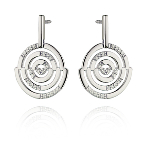 Fiorelli Ladies Silver Cut Out Pave Disc Drop Earrings