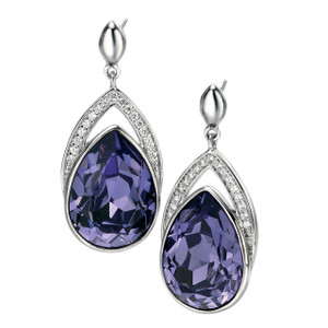 Fiorelli Ladies Silver And Purple White Cubic Zircoina Earrings