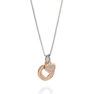 Fiorelli Ladies Silver Rose Gold Double Heart Pendant