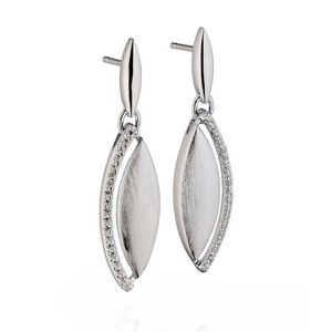 Fiorelli Ladies Sterling Silver Cubic Zirconia Marquise Earrings