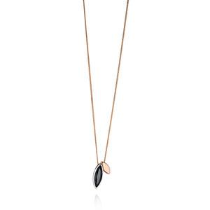 Fiorelli Ladies Silver Rose Gold And Black Cubic Zirconia Pendant