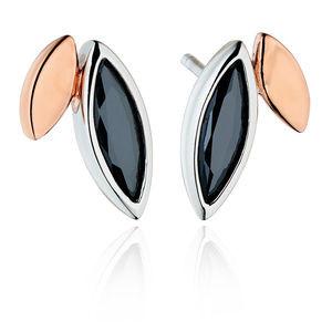 Fiorelli Ladies Black Cubic Zirconia Silver Stud Earrings