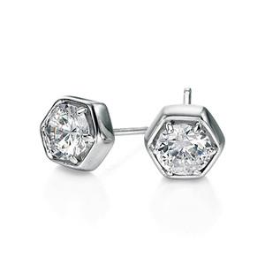 Fiorelli Ladies Silver Hexagonal Cubic Zirconia Stud Earrings