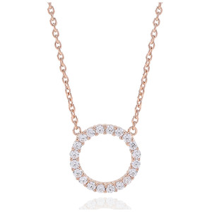 Sif Jakobs Necklace Biella Grande Rose Gold Plated With White Zirconia