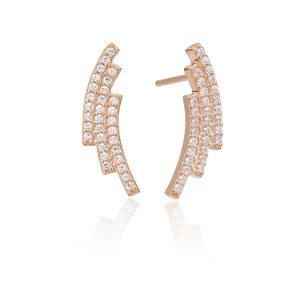 Sif Jakobs Earrings Fucino Tre Rose Gold Plated With White Zirconia