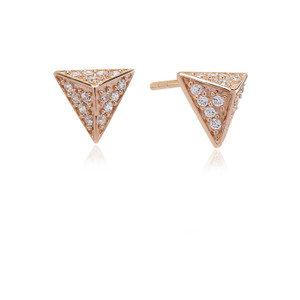 Sif Jakobs Earrings Pecetto Piccolo Rose Gold Plated With White Zirconia