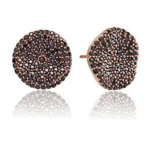 Sif Jakobs Earrings Monterosso Rose Gold Plated With Black Zirconia