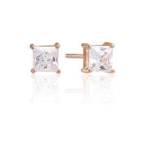 Sif Jakobs Earrings Princess Square Rose Gold Plated With White Zirconia