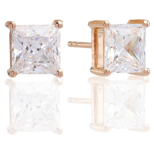 Sif Jakobs Earring Princess Square 18K Rose Gold Plated with White Zirconia