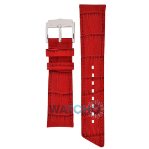 Hirsch Princess Replacement Watch Strap Red Alligator Embossed 14mm With Free Connecting Pins