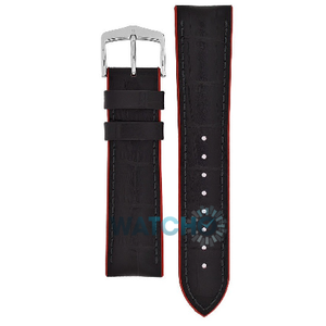 Hirsch Andy Performance Replacement Watch Strap Black And Red Leather 24mm With Free Connecting Pins