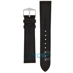Hirsch Rainbow Replacement Watch Strap Black Lizard Embossed 14mm With Free Connecting Pins