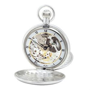 Woodford Sterling Silver Twin Lid Skeleton Swiss Pocket Watch 1002