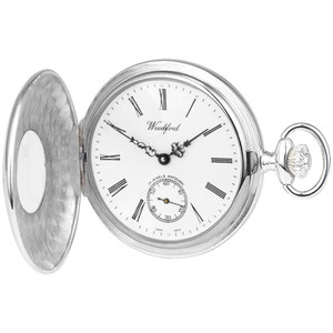 Woodford Sterling Silver Half Hunter Swiss Pocket Watch 1004
