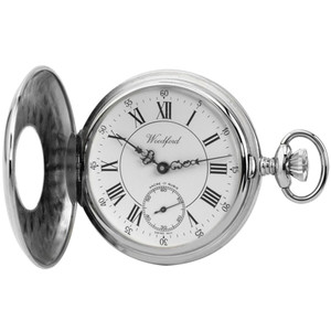 Woodford Chrome Finished Half Hunter Swiss Pocket Watch 1011