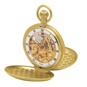 Woodford Gold Plated Skeleton Full Hunter Twin Lidded Pocket Watch 1014