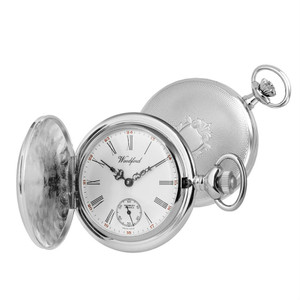 Woodford Chrome Plated Full-Hunter Engine Turned Swiss Pocket Watch 1058