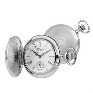 Woodford Chrome Plated Full-Hunter Engine Turned Swiss Pocket Watch 1058