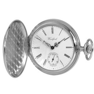 Woodford Chrome Plated Polished Full Hunter Swiss Pocket Watch 1061