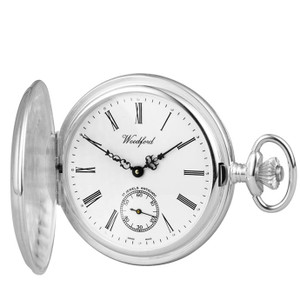 Woodford Sterling Silver Polished Full Hunter Swiss Pocket Watch With Free Sterling Silver Chain 1064