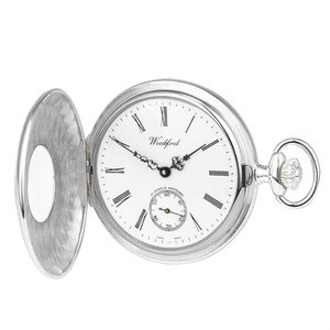 Woodford Sterling Silver Polished Half Hunter Swiss Pocket Watch With Free Sterling Silver Chain 1067