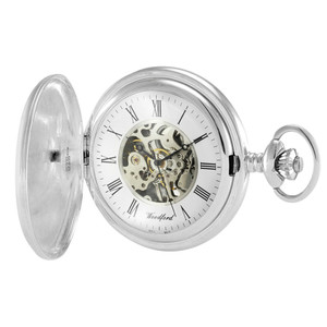 Woodford Sterling Silver Full Hunter Skeleton Pocket Watch With Free Sterling Silver Chain 1103