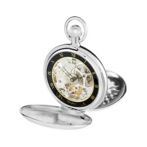 Woodford Chrome Plated Full Hunter Skeleton Swiss Pocket Watch 1112