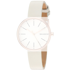 Skagen Replacement White Leather Strap 12mm For SKW2595 With Free Pins