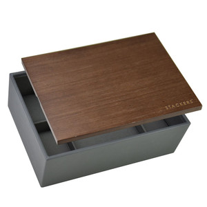 Stackers Wooden Lid Watch Box For 8 Watches in Charcoal Grey 73648